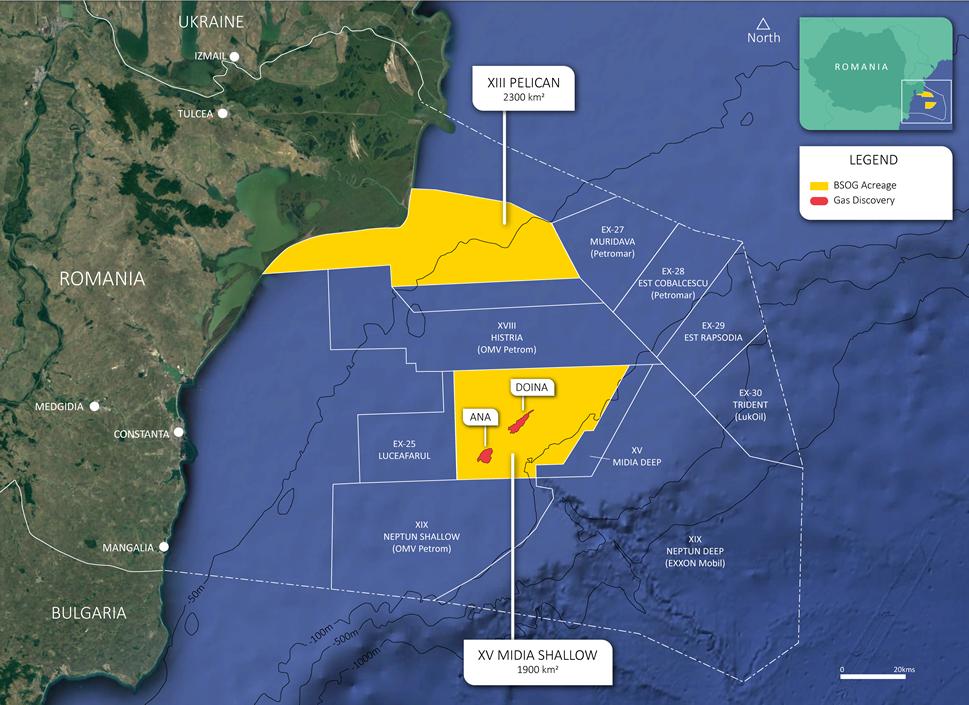 Perimetrele deţinute de BSOG în sectorul românesc al Mării Negre