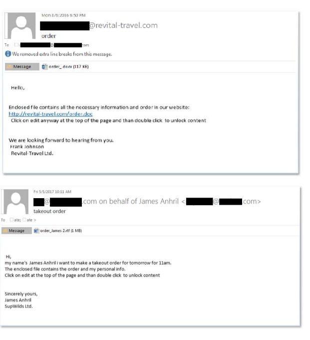 Emailul trimis de FIN 7 (Sursa - Departamentul American de Justitie)
