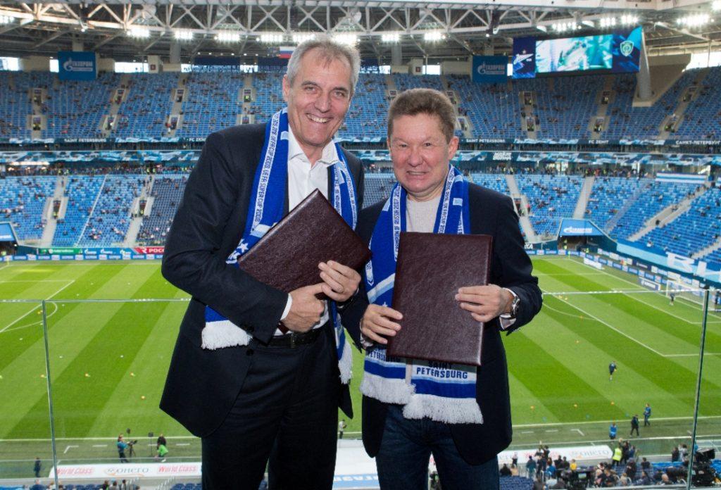 Rainer Seele, OMV Austria (stânga) - si Alexey Miller (Gazprom) - dreapta.