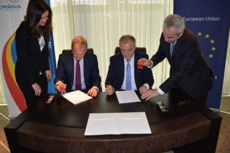 Semnarea contractului de transport al gazelor naturale dintre Black Sea Oil & Gas SRL şi Transgaz S.A. la sediul Trangaz din Bucureşti, 9 noiembrie 2018 .