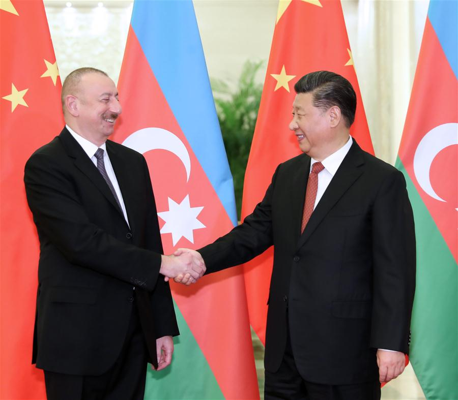 Președintele chinez Xi Jinping (R) s-a întâlnit cu președintele Azerbaijan Ilham Aliyev. www.brfmc2019.cn