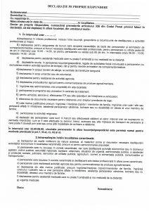 Modelul declaraţiei pe proprie răspundere pentru localităţile din Ilfov – Corbeanca, Dobroești, Măgurele, Mogoșoaia, Otopeni și Popești Leordeni