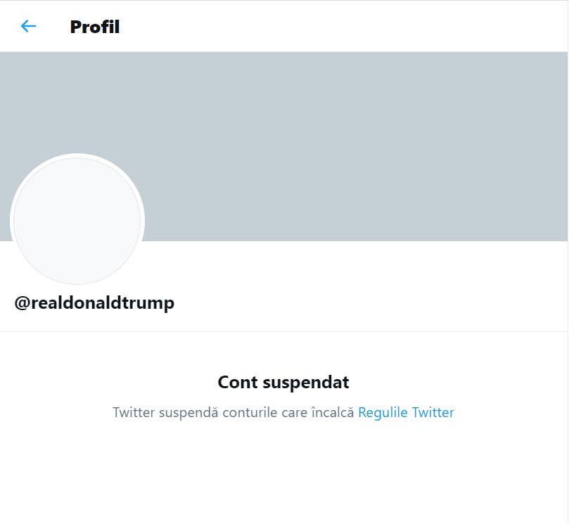 Asalt asupra Capitoliului: Twitter suspendă permanent contul lui Donald Trump