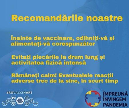 Recomandări înainte de vaccinare