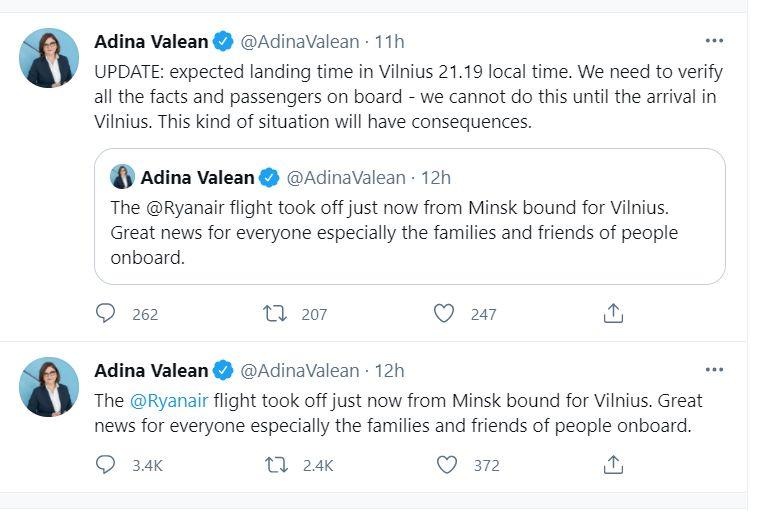 Adina Valean, avion, deturnat