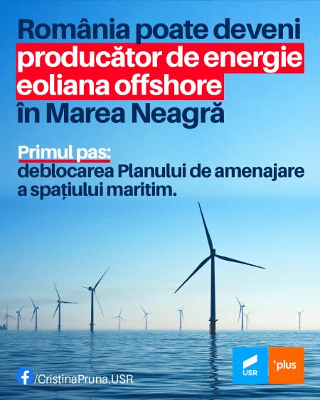 pruna Cristina Prună, USR: Demararea proiectelor de producere a energiei eoliene offshore trebuie să fie o prioritate pentru această guvernare