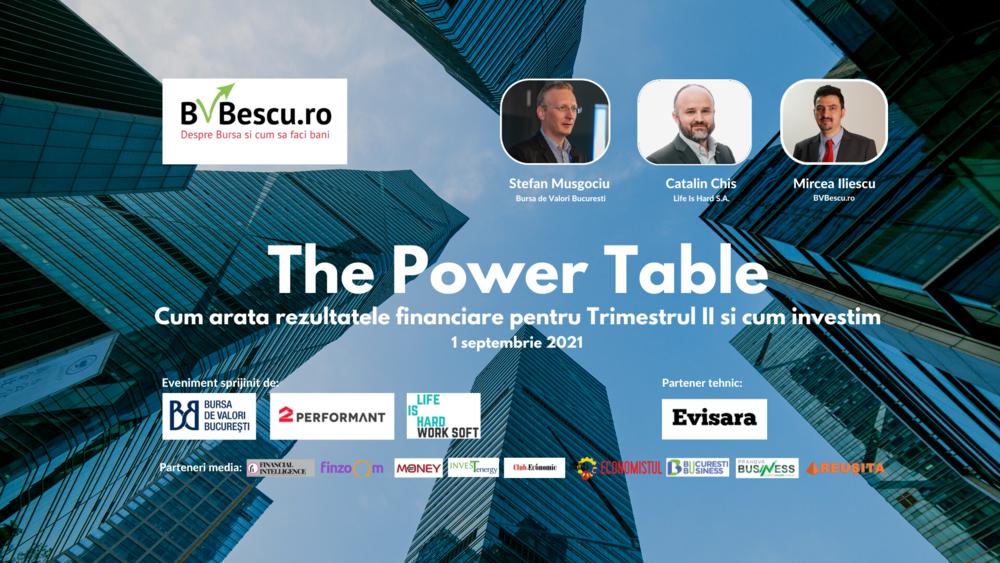 """BVBescu.ro organizează """"The Power Table Cum arată rezultatele financiare pentru Trimestul II și cum investim"""""""