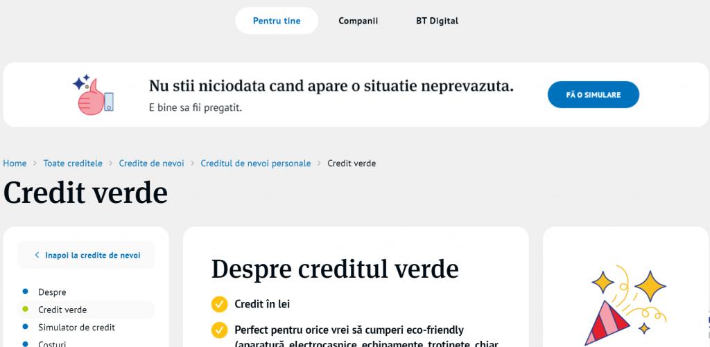 Banca Transilvania lansează Practic BT Verde, cel mai ieftin credit de nevoi personale din oferta băncii