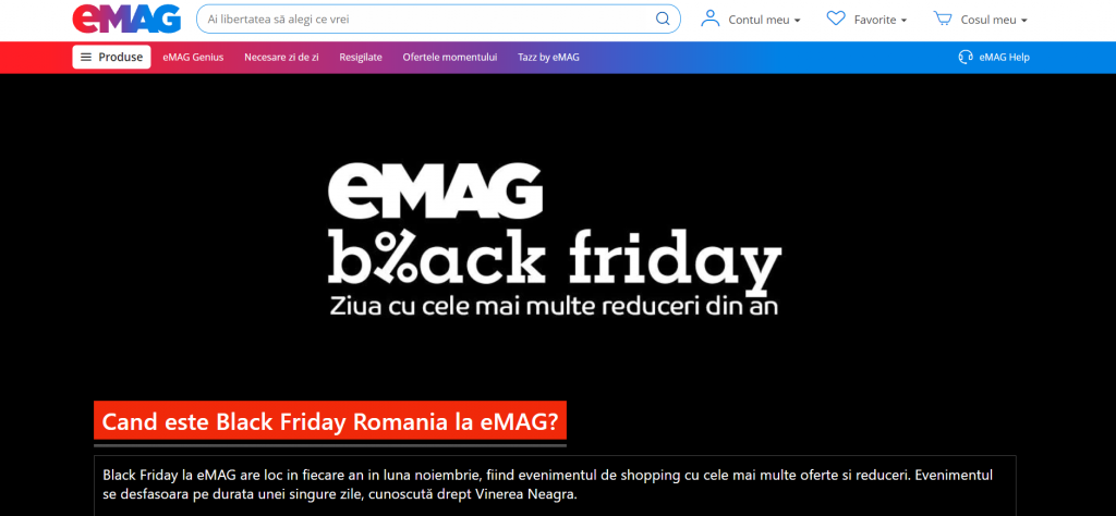 eMAG: Black Friday are loc anul acesta pe 12 noiembrie