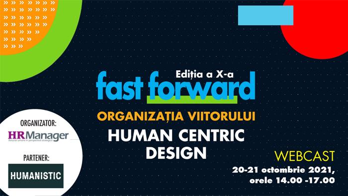 RevistaHR Manager organizează ediția a X-a din seria de evenimente online FAST FORWARD. ORGANIZAȚIA VIITORULUI cu tema HUMAN CENTRIC DESIGN.